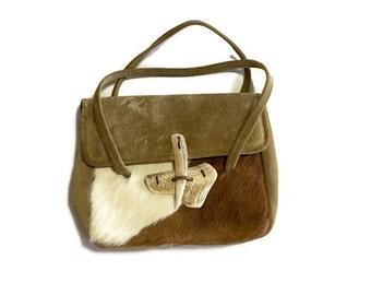 Vintage suede ponyhair handbag / Antler Clasp