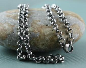 Sterling Silver Jewelry Chain, Antique Heavy 4mm Rolo,.925 Rustic Patina Oxidized or Bright, Rollo Chain, Belcher Chain
