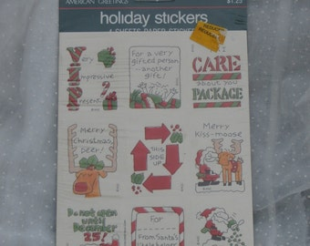Vintage Christmas Stickers, Four Sheets, Package American Greetings Holiday, For Gifts and Packages