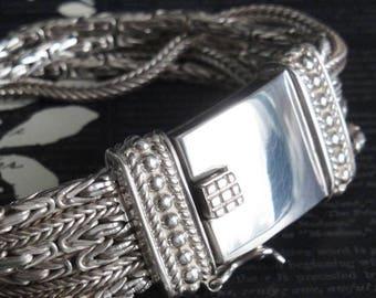 SILPADA Vintage Bracelet. Sterling Silver. Retired 6 Strand Multi Chain Byzantine Foxtail Design. Large Box Clasp. Item Name 'Go Gorgeous'