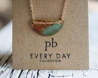 Oxidized brass Necklace, boho jewelry, minimalist necklace, Give Collection, boho necklace, Simple necklace, Brass Necklace
