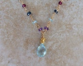 Private sale for Elanore-garnet, topaz, iolite, amethyst double strand necklace