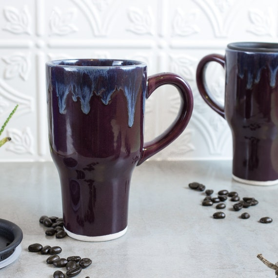 Beautiful Ceramic Coffee Travel mug with handle, Eggplant Purple Kitchen Serving Gift for him her, large coffee cup BlueRoomPottery