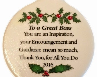 Great Boss Porcelain Christmas Ornament Rhinestone accent