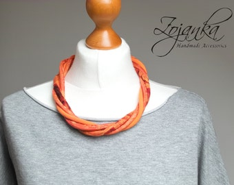 TEXTILE necklace, statement necklace, recycled necklace, natural textile necklace, christmas gift for her, orange necklace