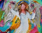 Angel of Spring painting original oil 6x6 palette knife impressionism on canvas fine art by Karen Tarlton