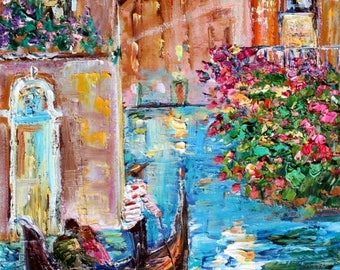 Venice italy Spring Romance painting in oil landscape palette knife impressionism on canvas 10x20 fine art by Karen Tarlton