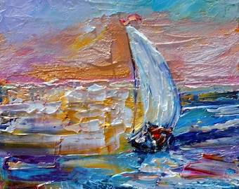 Sailboat Sunrise painting original oil 6x6 palette knife impressionism on canvas fine art by Karen Tarlton