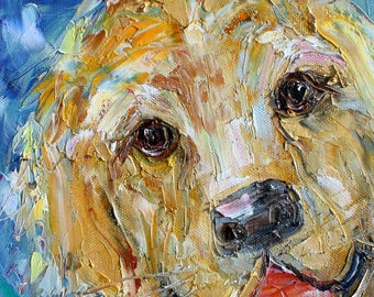Happy Dog painting original oil abstract impressionism fine art impasto on canvas by Karen Tarlton
