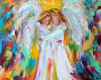 Angel Hugs original oil painting abstract palette knife impressionism on canvas fine art by Karen Tarlton