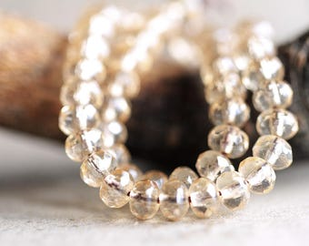 Champagne Czech Rondelle Beads, Fire Polished beads, facetted glass donut beads, 3X5mm Clear glass & Champagne luster (100pcs) NEW