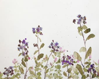 Mint and Borage Original Watercolor Painting 24 x 30 inches
