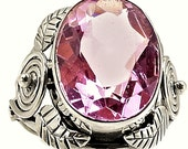 Pink Kunzite Ring Pink Faceted Kunzite Large Oval Gemstone Ring in Solid Sterling Silver Size 7