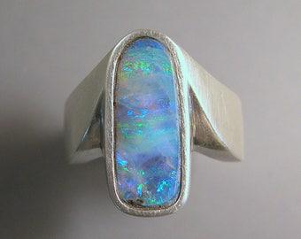 Australian Boulder Opal Ring Sterling Silver