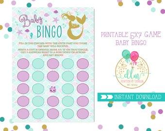 Mermaid Bingo Card, Baby Shower Game, Baby Bingo, Mermaids Shower, Purple and Aqua, Printable Game, DIY Printable File, Game File