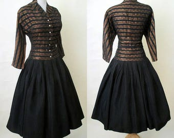 Beautiful 1950's Taffeta cocktail Party Dress with drop waist & huge rhinestone buttons matching belt VLV Rockabilly pinup girl Size Medium