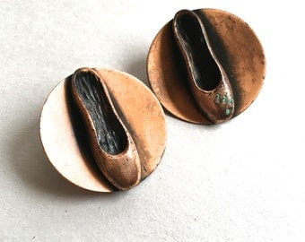 Mid Century Copper Ballet Shoe Earrings Copper Clips