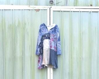 Sweatshirt Dress | Upcycled Dress | Hoodie | Upcycled Clothing | Casual Tunic | Blue | Grey | Gray | Funky  Loose Fitting Clothing CreoleSha