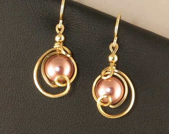 Rose Pink Pearl Gold Drop Earrings, Unique Pearl Earrings, Small Dangle Pink Pearl Wire Wrapped Gold Earrings, Bridesmaid Earrings