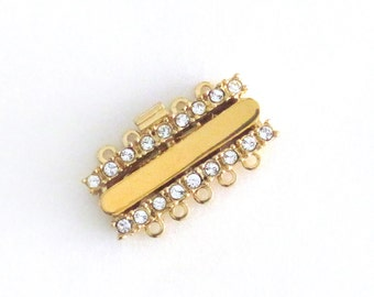 Gold and Rhinestone Multi-Strand Box Clasp / Five Strand Clasp / Gold Metal with 18 Rhinestones / New Unused