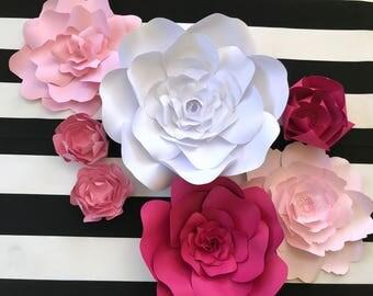 Paper Flower Wall Decor, nursery wall decor , pink paper flowers, giant paper flower, paper flower backdrop, pink wedding, paper flower wall