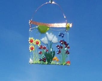 Field of FLowers Fused Glass Suncatcher // Garden // Tulip // Colorful // Grow //  Sunshine // Get Well // Mothers Day // Cute // Bright/Fun