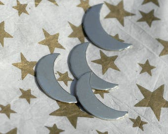 Copper, Brass, Bronze or Nickel Silver Moon Cheshire 16.1mm x 10.2mm 20g Blanks for Metalworking Stamping Texturing Soldering - 6 pieces
