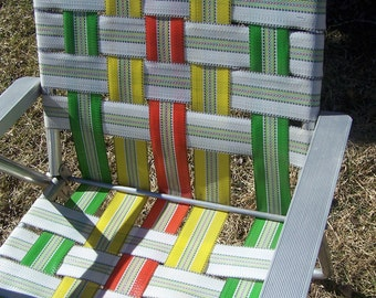 Vintage Adult Size Webbed Aluminum Lawn Chair, Folding Lawn Chair,  Portable, Picnic, Tailgating, Yellow, Lime Green, Orange