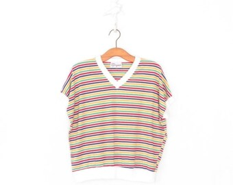 SALE 1980s Knit Top * Vintage 80s Shell * Striped Shirt * Large