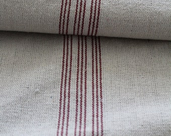 Grain Sack Fabric by the Yard- 9 Stripe Red