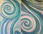 Blue, teal, baby blue watercolor style spirals silk scarf. Custom order