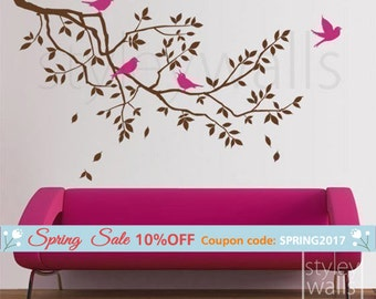 Branch Wall Decal, Branch and Birds Wall Decal, Branch with Birds Wall Sticker, Nursery Baby Room Wall Decal, Kids Children Room Decor