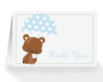 Thank You Card - Baby Shower  - Teddy Bear with Umbrella - DEPOSIT
