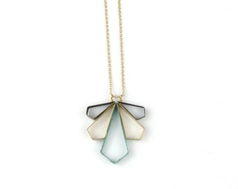 Necklace - Small Angled Wing Fan - Brass Patina Mix