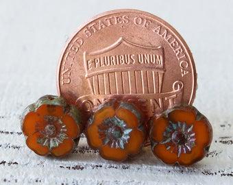 9mm Hibiscus Flower Beads - Jewelry Making Supply - 9mm Flower - Hawaiian Flower Beads  (12 or 6 Pansies ) Orange Opaline