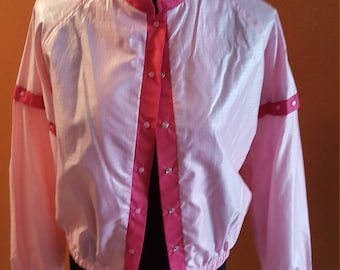 Incredible Vintage Greased-Inspired Pink Bomber Jacket with Detachable Sleeves by Energetics