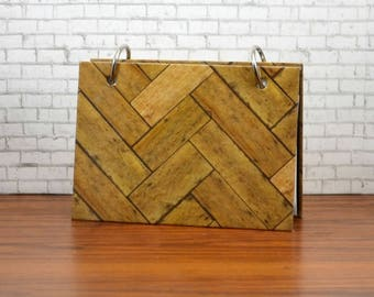 3 x 5 or 4 x 6 index card binder, wood basket weave, address book, phone numbers, index card holder with a set of index card dividers