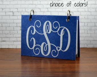 Index card binders in your choice of custom colors, interlocking vine monogram, personalized journal for notes, recipe cards, 3 x 5 or 4 x 6