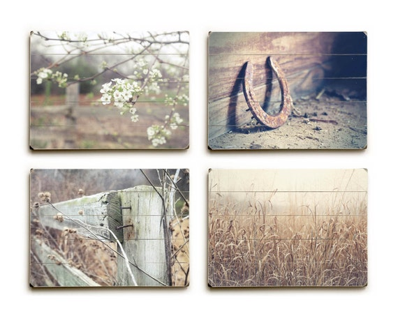 Wood Plank Wall Art wood plank wall art country landscape prints farmhouse wall