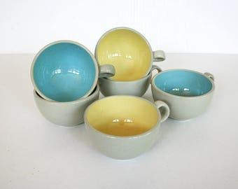 Mid century cups by Harker. Harkerware, Blue Mist, Golden Dawn, robins egg blue, gray, yellow, speckled glaze, stoneware cups, modern