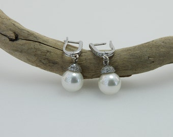 Pearl Jewelry, Fresh Water  Pearl , Cubic Zirconia , Sterling Silver Earrings