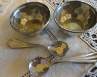 Vintage SALT Dip Pair with Spoons Unusual Adorable Silver