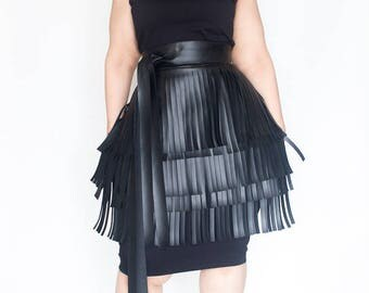 Fringe Faux Leather Peplum Belt