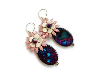 Pink Purple Statement Earrings, Mother of Pearl Drop Earings, Flower Dangle Earrings