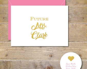 The Future Mrs, Bridal Shower Thank You Cards, Soon To Be Mrs, Bridal Shower Cards, Thank You Cards, Gold Glitter,  Wedding, Bridal Shower