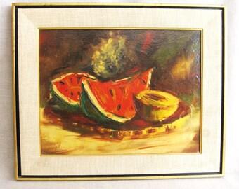 Mid-Century Painting, Vintage, Still Life, Fruit, Signed Weigel Painting, Fine Art, Original, Watermelon, Vintage Art, Framed