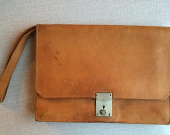 VINTAGE Leather handbag boho bohemian leather purse handbaggy rare old leather camel brown leather travel pouch