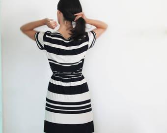 Striped dress / Retro summer dress / Boho maxi dress / loose fit cotton dress / long Tshirt dress / Casual jersey dress / black maxi dress