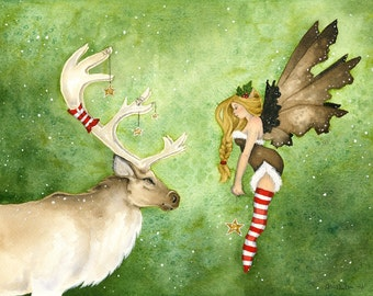 Fairy Art Print - Reindeer Meets a Fairy - fantasy. cute. holiday. christmas. animal. green. magic. fine art. red. watercolor.