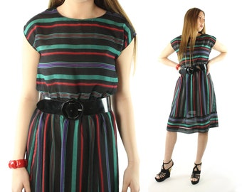 Vintage 80s Striped Dress Short Sleeves Secretary Knee Length 1980s Medium M Black Red Green